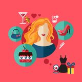 Woman shopping flat icon. Vector set infographic Stock Photography