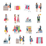 Woman Shopping Flat Icons vector illustration