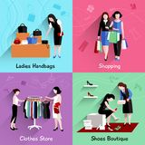 Woman Shopping Flat Set Royalty Free Stock Photography