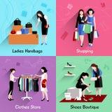 Woman Shopping Flat Set Royalty Free Stock Photography