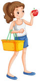 Woman shopping fresh ingredient. Illustration Royalty Free Stock Photo