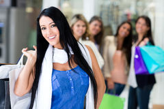 Woman shopping with friends Stock Photo