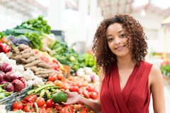 Woman shopping fruits Stock Image