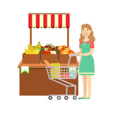 Woman Shopping For Fruits, Shopping Mall And Department Store Section Illustration Royalty Free Stock Photo