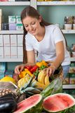 Woman Shopping Fruits And Vegetables In Stock Images