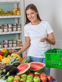 Woman Shopping Fruits And Vegetables In Store Stock Photos