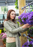 Woman shopping at gardening center Stock Photos