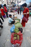 Woman shopping for groceries in Asan Tole market, Kathmandu Nepal Royalty Free Stock Images