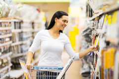 Woman shopping hardware store royalty free stock photo