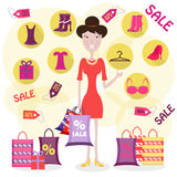 A woman is shopping Royalty Free Stock Photo