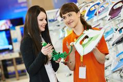 Woman shopping at home appliance supermarket Royalty Free Stock Photography
