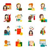 Woman Shopping Icon Flat Royalty Free Stock Photo