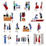 Woman Shopping Icons stock illustration