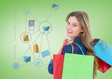 Woman with shopping icons graphics drawings Stock Photography