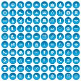100 woman shopping icons set blue. 100 woman shopping icons set in blue circle isolated on white vector illustration Stock Illustration