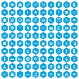 100 woman shopping icons set blue. 100 woman shopping icons set in blue hexagon isolated vector illustration Stock Illustration
