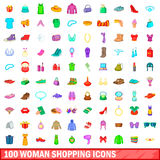100 woman shopping icons set, cartoon style. 100 woman shopping icons set in cartoon style for any design vector illustration Stock Illustration