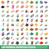100 woman shopping icons set, isometric 3d style Royalty Free Stock Photos
