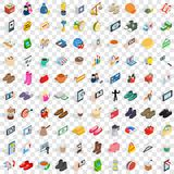 100 woman shopping icons set, isometric 3d style. 100 woman shopping icons set in isometric 3d style for any design vector illustration Vector Illustration