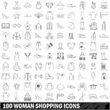 100 woman shopping icons set, outline style. 100 woman shopping icons set in outline style for any design vector illustration Royalty Free Stock Images