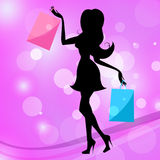 Woman Shopping Indicates Commercial Activity And Adult Royalty Free Stock Images
