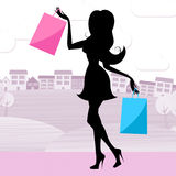 Woman Shopping Indicates Retail Sales And Adult Royalty Free Stock Photos