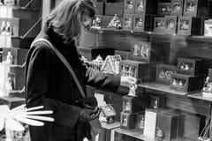 Woman shopping inside Villeroy & Boch ceramic porcelain Stock Images