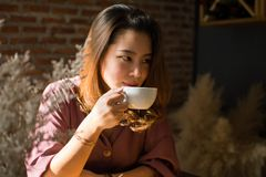 A pretty woman is looking for something while drinking coffee. In her warm house royalty free stock photos