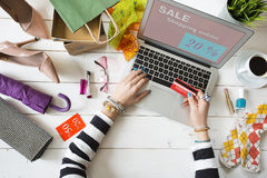Woman shopping on internet top view Royalty Free Stock Images