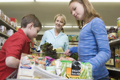 Woman Shopping With Kids In Supermarket Stock Image