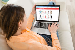 Woman Shopping On Laptop Stock Photography