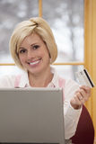 Woman shopping on line royalty free stock image