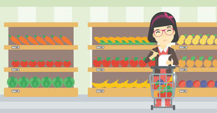 Woman with shopping list vector illustration. Stock Image