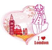 Woman shopping in London card Stock Photos