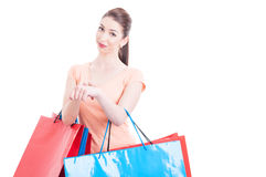 Woman at shopping making you are late gesture Stock Photos