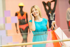 Woman in shopping mall. Royalty Free Stock Images