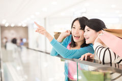 Woman shopping in the mall. Happy women shopping in the mall, shot in hong kong, asian Royalty Free Stock Photography