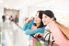 Woman shopping in the mall. Happy women shopping in the mall, shot in hong kong, asian Royalty Free Stock Photo