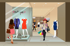 Woman shopping in a mall. A vector illustration of stylish woman shopping in a mall Royalty Free Stock Photography
