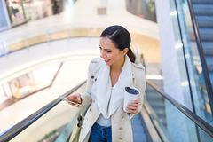 Woman in shopping mall Stock Images