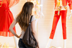 Woman in a shopping mall Royalty Free Stock Images