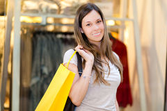 Woman in a shopping mall Stock Photo