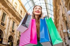 Woman shopping in Milan Stock Photo