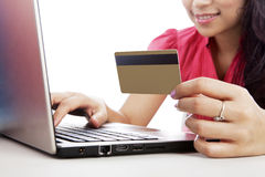 Woman shopping online Stock Images