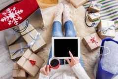 Woman shopping online with a credit card Royalty Free Stock Photography