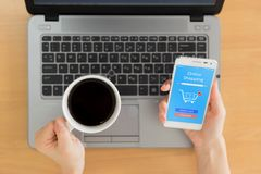 Woman shopping online at home, business and modern lifestyle. Concept royalty free stock photo