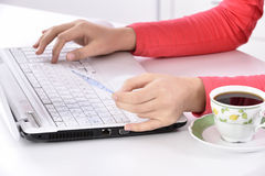 Woman shopping online at home Royalty Free Stock Photos