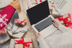 Woman shopping online with laptop, top view Royalty Free Stock Photography