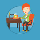 Woman shopping online vector illustration. Stock Images