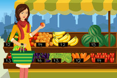 Woman shopping in an outdoor farmers market vector illustration